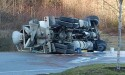 Cement truck rolls near top of Langdale cut